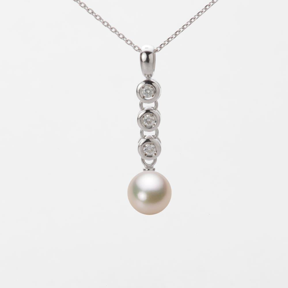 あこや真珠 パール ネックレス 7.0mm アコヤ 真珠 ペンダント K18WG ホワイトゴールド レディース HA00070R11CG0789W0