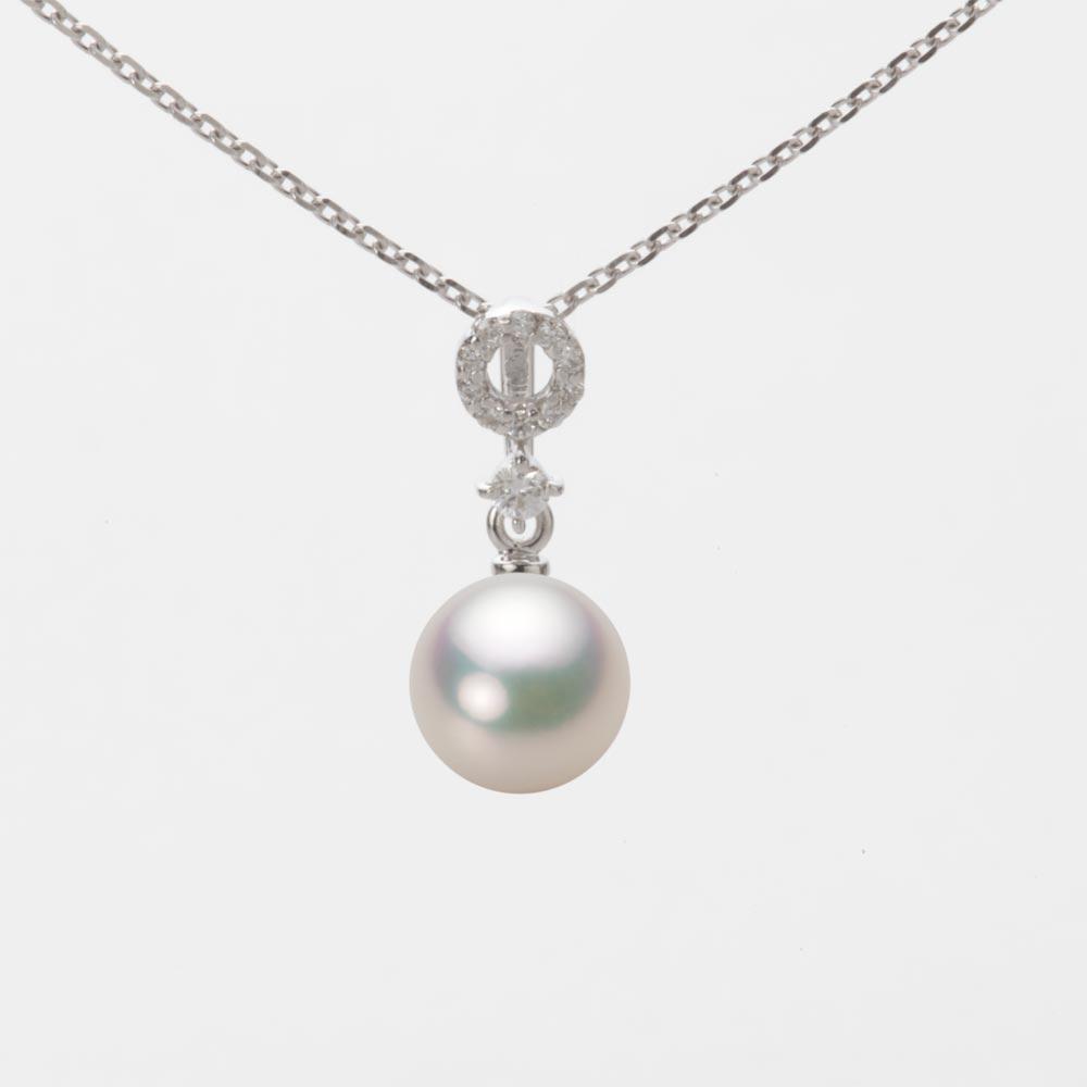 あこや真珠 パール ネックレス 7.0mm アコヤ 真珠 ペンダント K18WG ホワイトゴールド レディース HA00070R11CW01474W