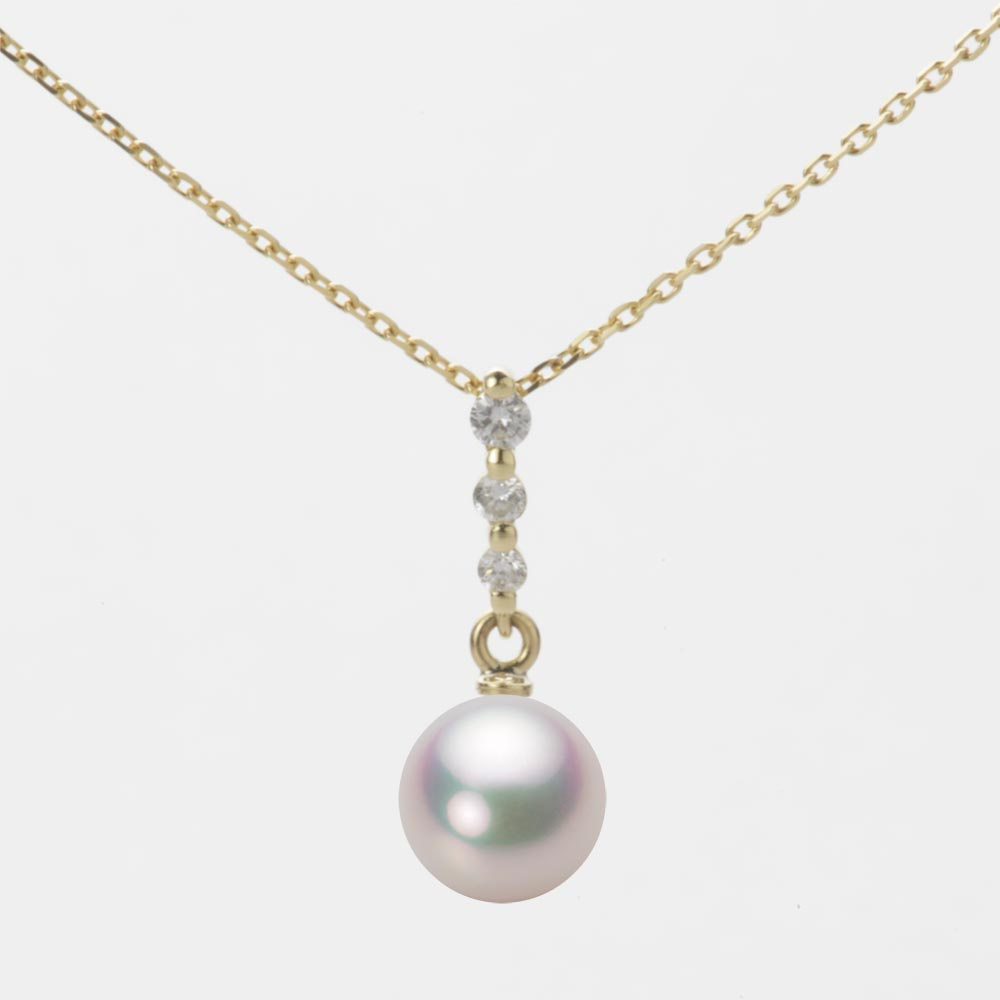 あこや真珠 パール ネックレス 7.0mm アコヤ 真珠 ペンダント K18 イエローゴールド レディース HA00070R11WPG797Y0