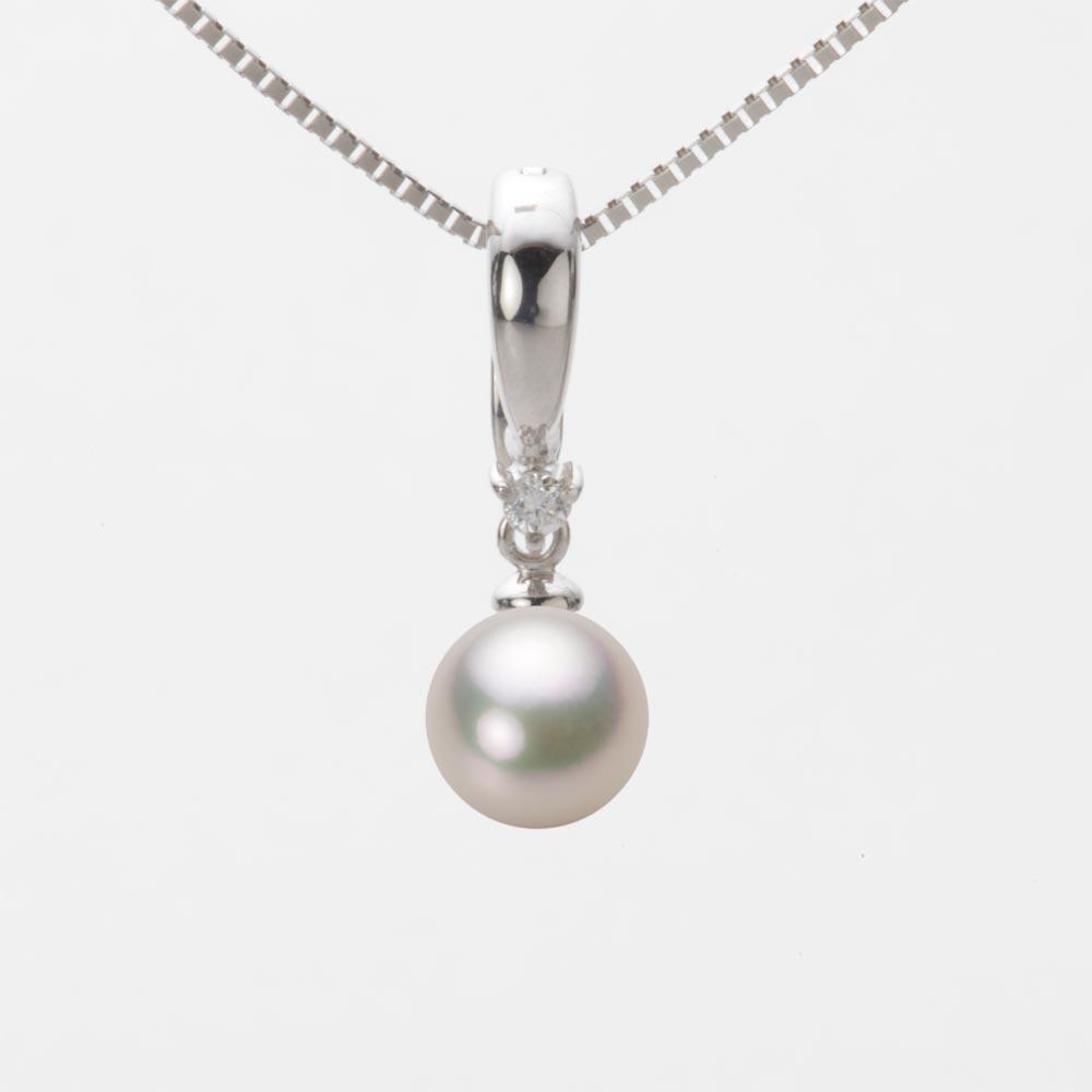 あこや真珠 パール ネックレス 7.0mm アコヤ 真珠 ペンダント K18WG ホワイトゴールド レディース HA00070R12CW0334W0