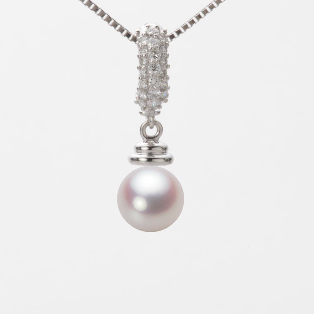 あこや真珠 パール ネックレス 7.0mm アコヤ 真珠 ペンダント K18WG ホワイトゴールド レディース HA00070R12WPN115W0