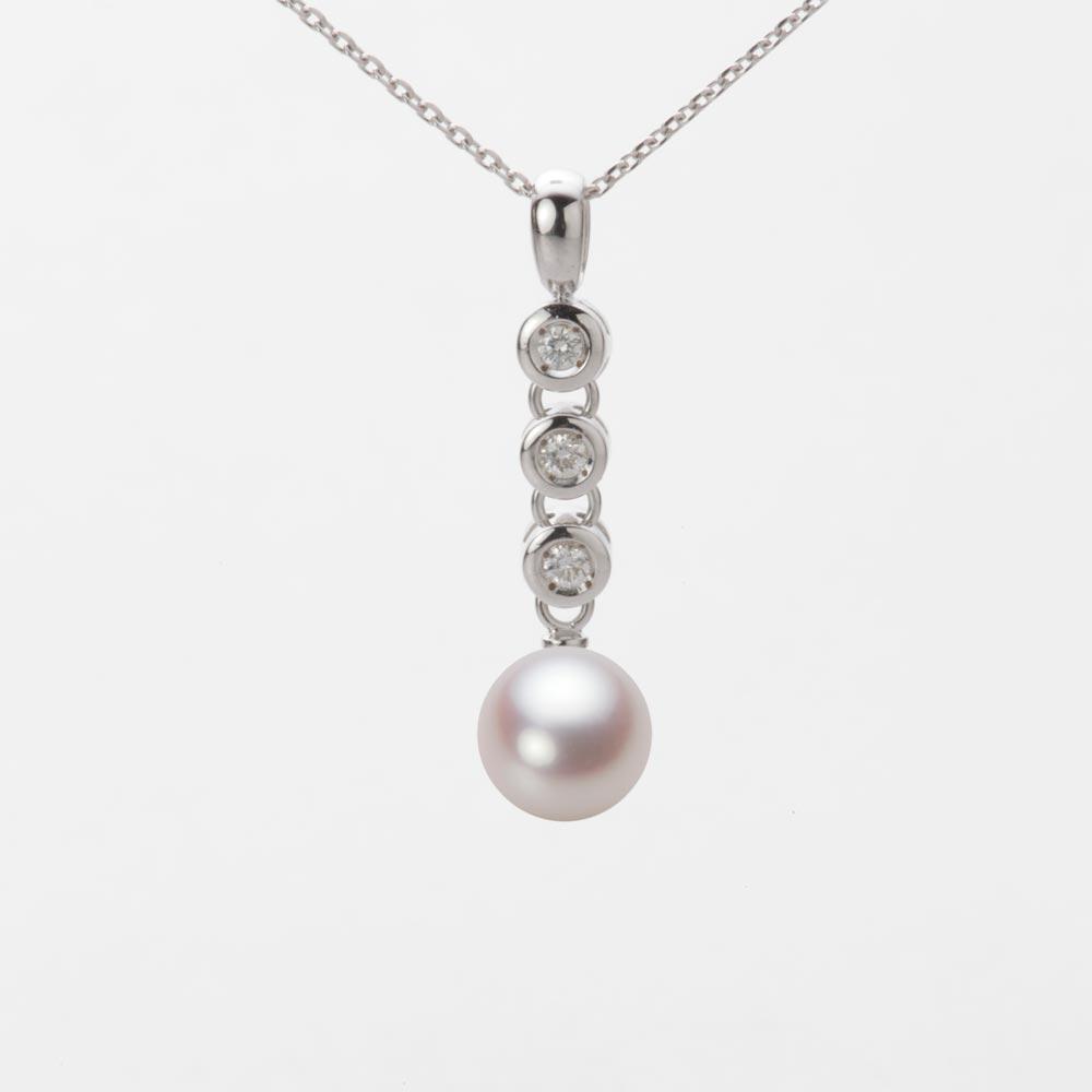 あこや真珠 パール ネックレス 7.0mm アコヤ 真珠 ペンダント K18WG ホワイトゴールド レディース HA00070R13WPN789W0