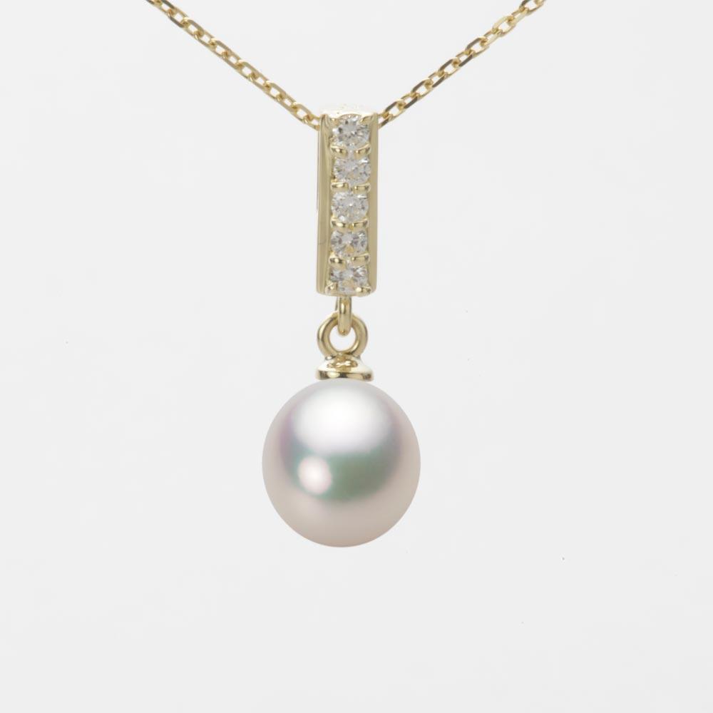あこや真珠 パール ネックレス 7.5mm アコヤ 真珠 ペンダント K18 イエローゴールド レディース HA00075D11CW0314Y0