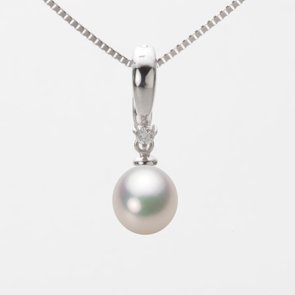 あこや真珠 パール ネックレス 7.5mm アコヤ 真珠 ペンダント K18WG ホワイトゴールド レディース HA00075D11CW0334W0