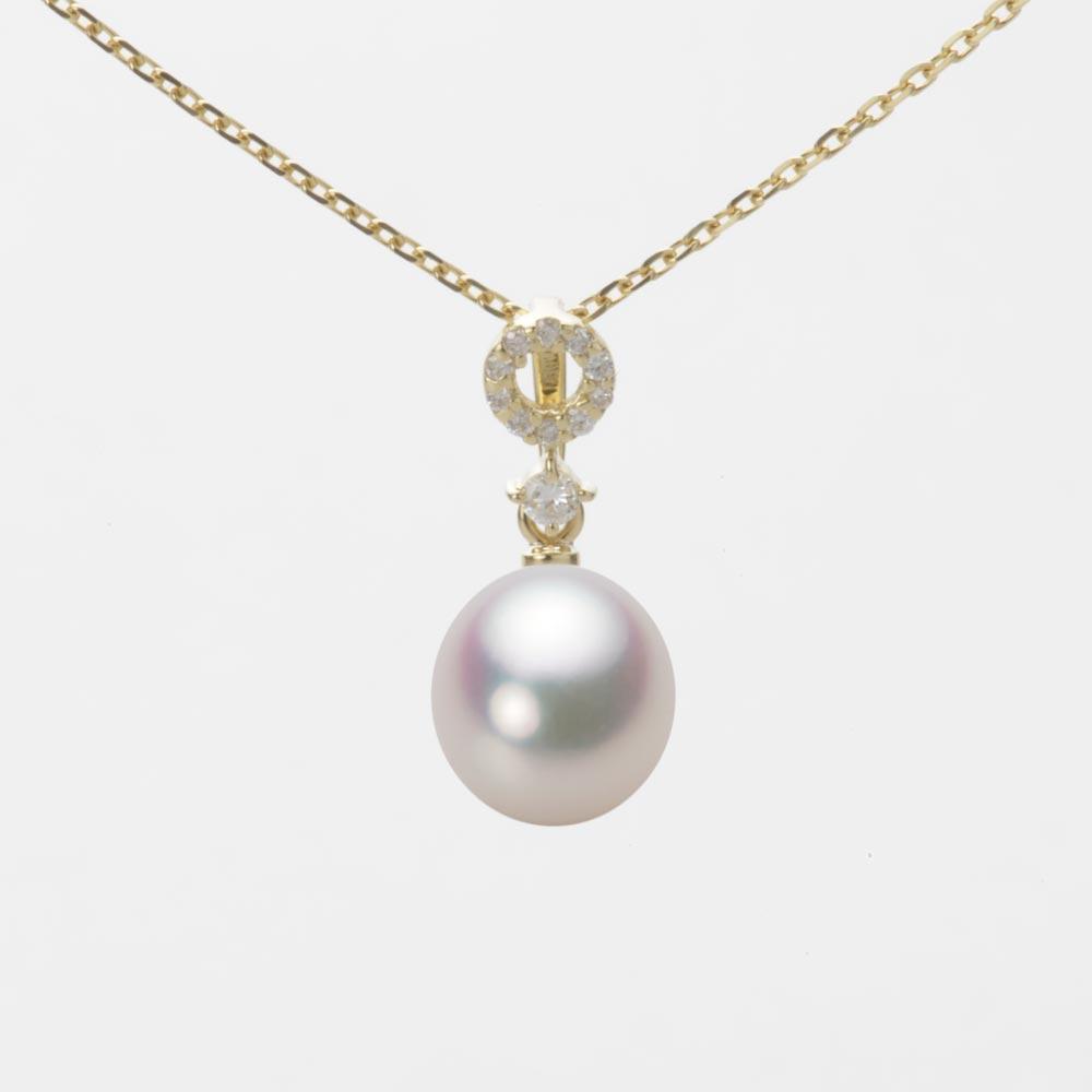 あこや真珠 パール ネックレス 7.5mm アコヤ 真珠 ペンダント K18 イエローゴールド レディース HA00075D11WPG1474Y