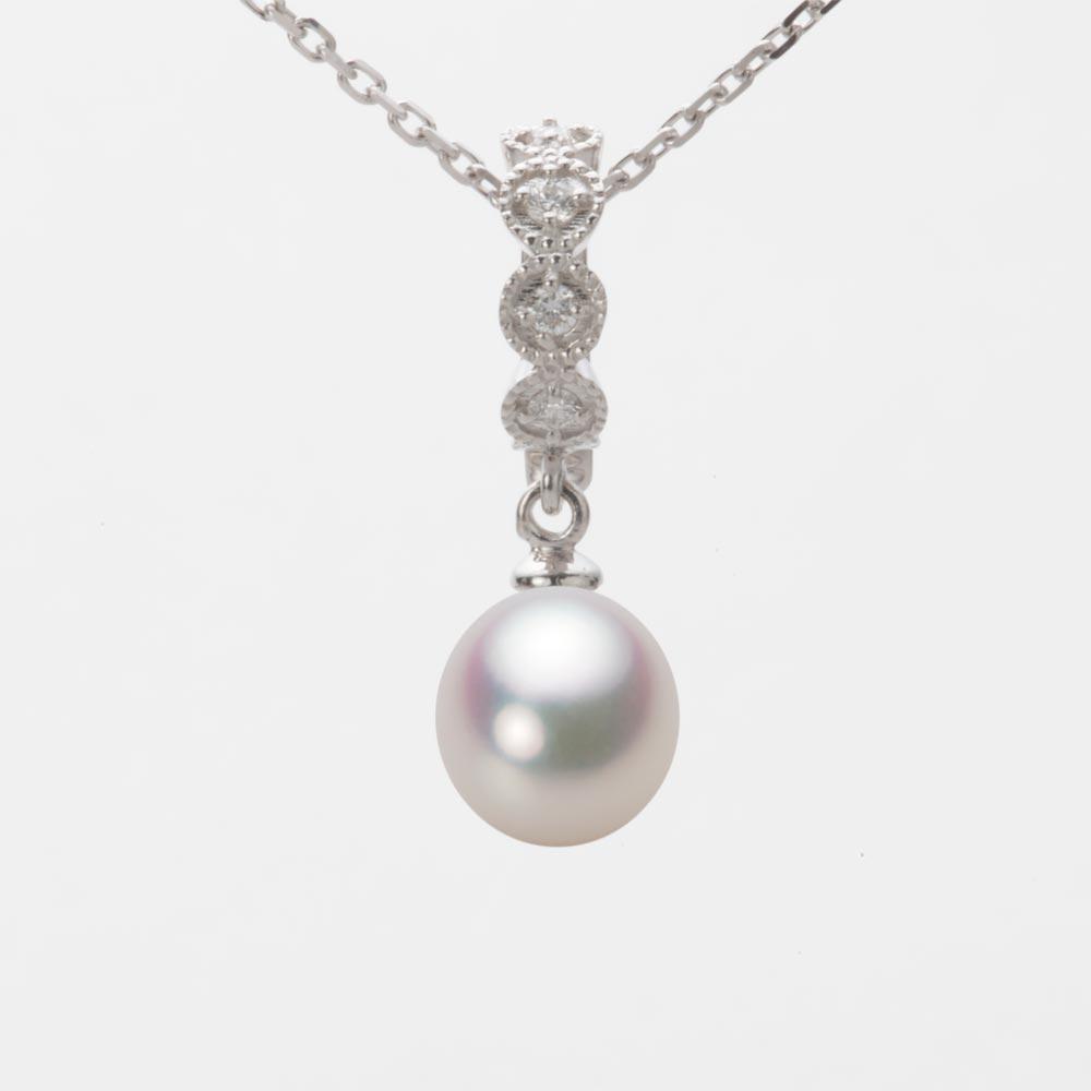 あこや真珠 パール ネックレス 7.5mm アコヤ 真珠 ペンダント K18WG ホワイトゴールド レディース HA00075D11WPG290W0