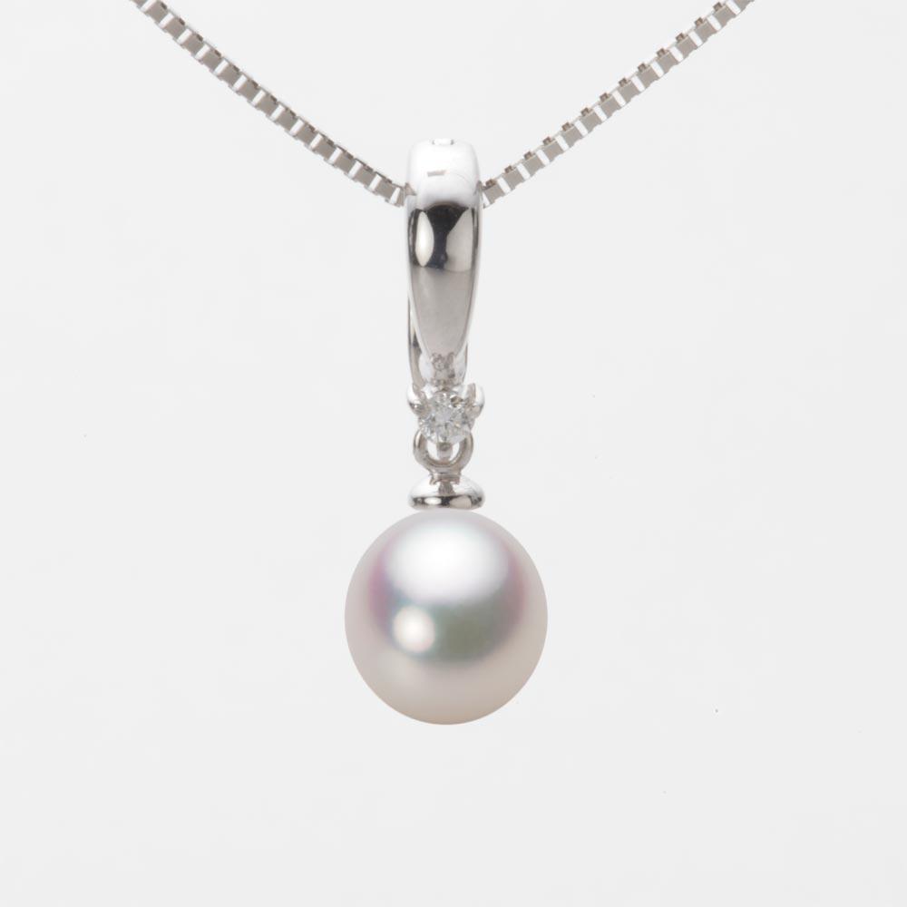 あこや真珠 パール ネックレス 7.5mm アコヤ 真珠 ペンダント K18WG ホワイトゴールド レディース HA00075D11WPG334W0