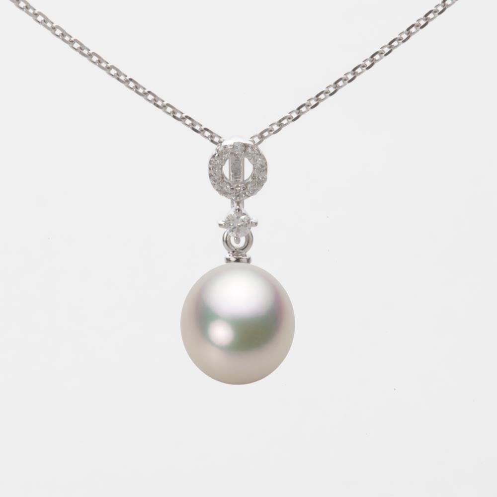 あこや真珠 パール ネックレス 7.5mm アコヤ 真珠 ペンダント K18WG ホワイトゴールド レディース HA00075D12CW01474W