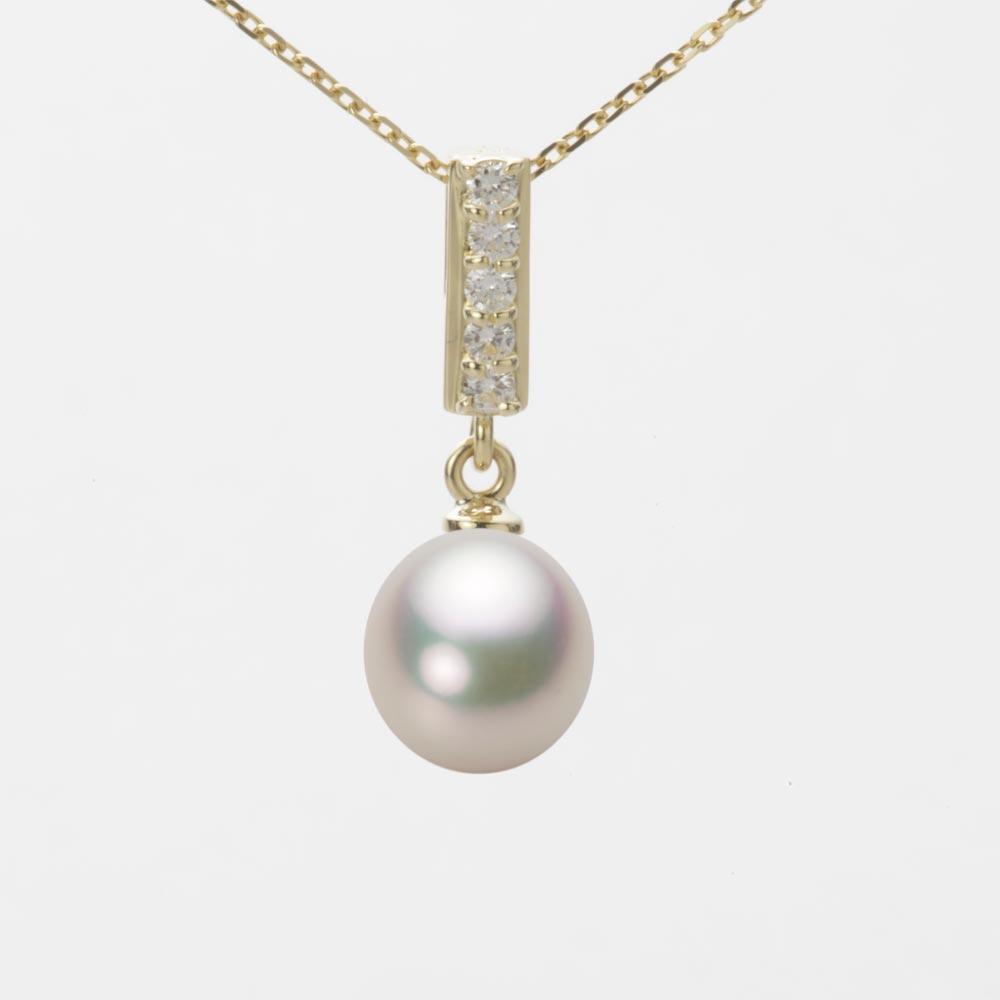あこや真珠 パール ネックレス 7.5mm アコヤ 真珠 ペンダント K18 イエローゴールド レディース HA00075D12CW0314Y0