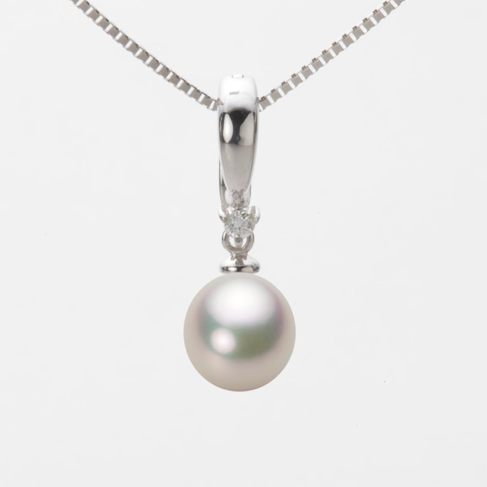 あこや真珠 パール ペンダント トップ 7.5mm アコヤ 真珠 ペンダント トップ K18WG ホワイトゴールド レディース HA00075D12CW0334W0-T