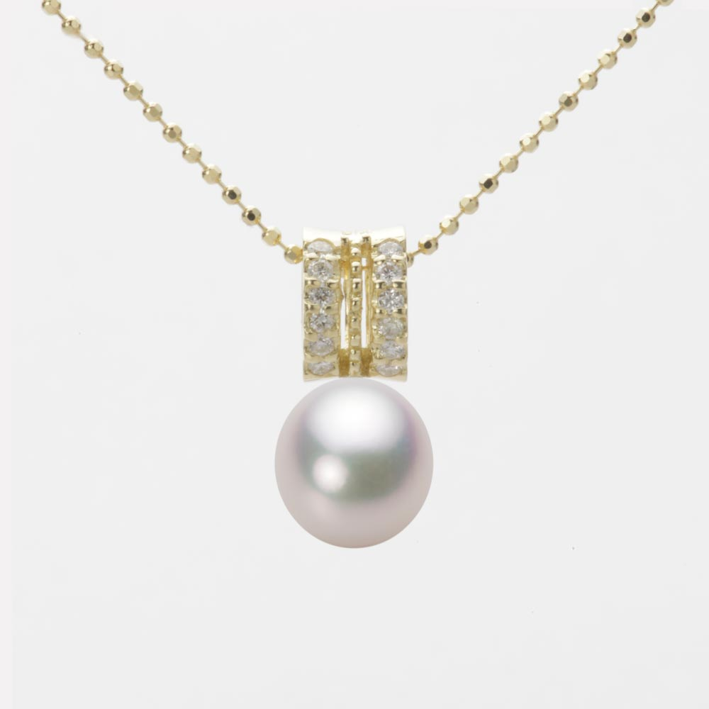 あこや真珠 パール ネックレス 7.5mm アコヤ 真珠 ペンダント K18 イエローゴールド レディース HA00075D12WPG1278Y