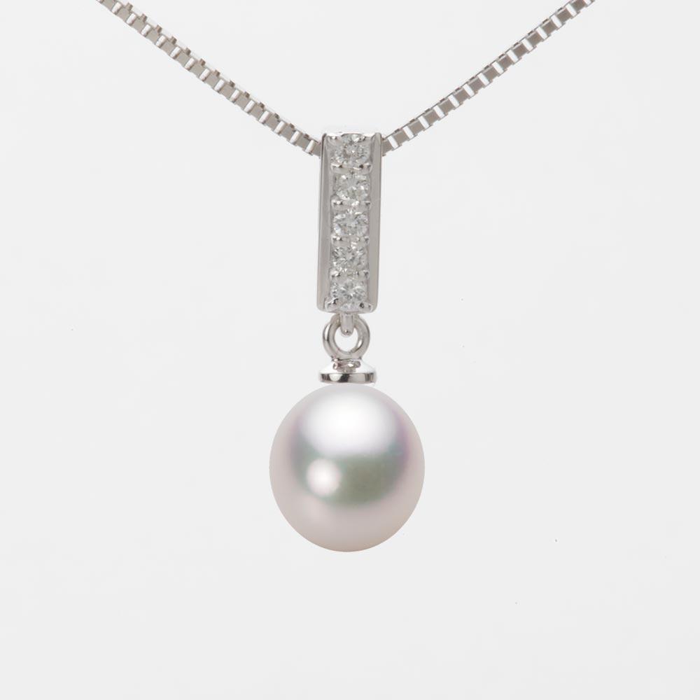 あこや真珠 パール ネックレス 7.5mm アコヤ 真珠 ペンダント K18WG ホワイトゴールド レディース HA00075D12WPG314W0