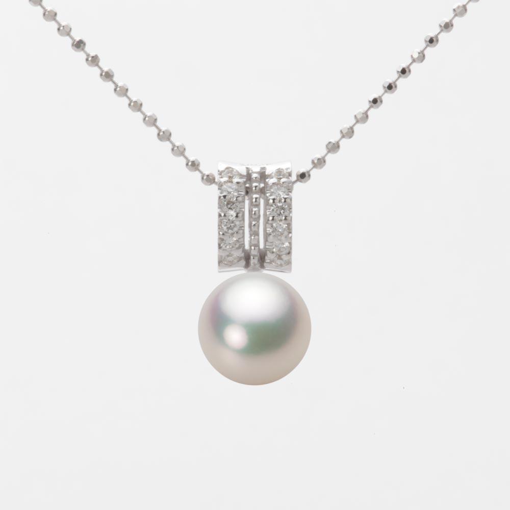 あこや真珠 パール ネックレス 7.5mm アコヤ 真珠 ペンダント K18WG ホワイトゴールド レディース HA00075R11CW01278W