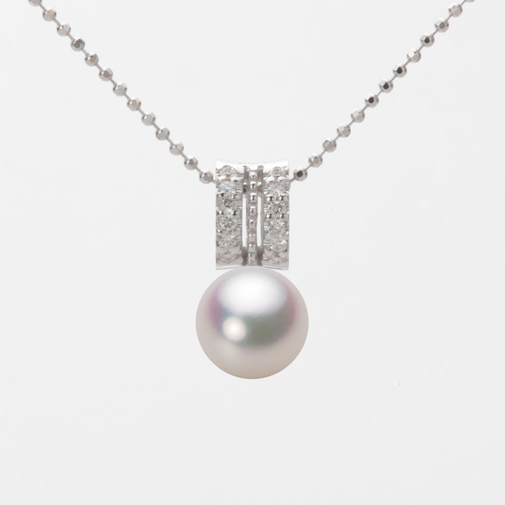 あこや真珠 パール ネックレス 7.5mm アコヤ 真珠 ペンダント K18WG ホワイトゴールド レディース HA00075R11WPG1278W