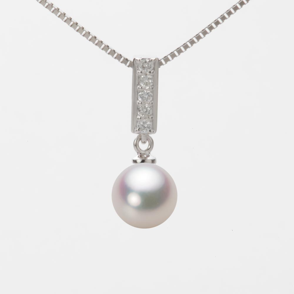 あこや真珠 パール ネックレス 7.5mm アコヤ 真珠 ペンダント K18WG ホワイトゴールド レディース HA00075R11WPG314W0