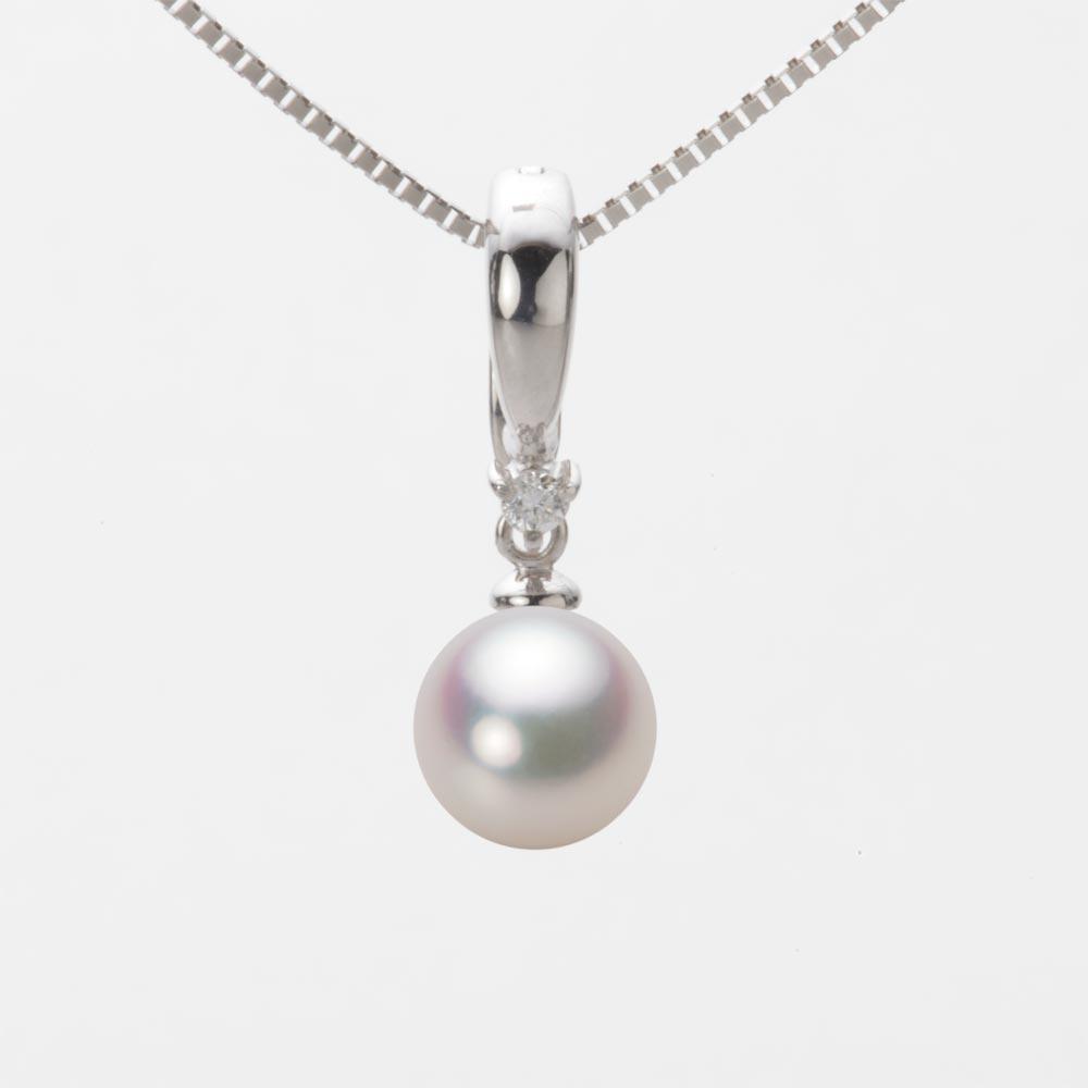 あこや真珠 パール ネックレス 7.5mm アコヤ 真珠 ペンダント K18WG ホワイトゴールド レディース HA00075R11WPG334W0
