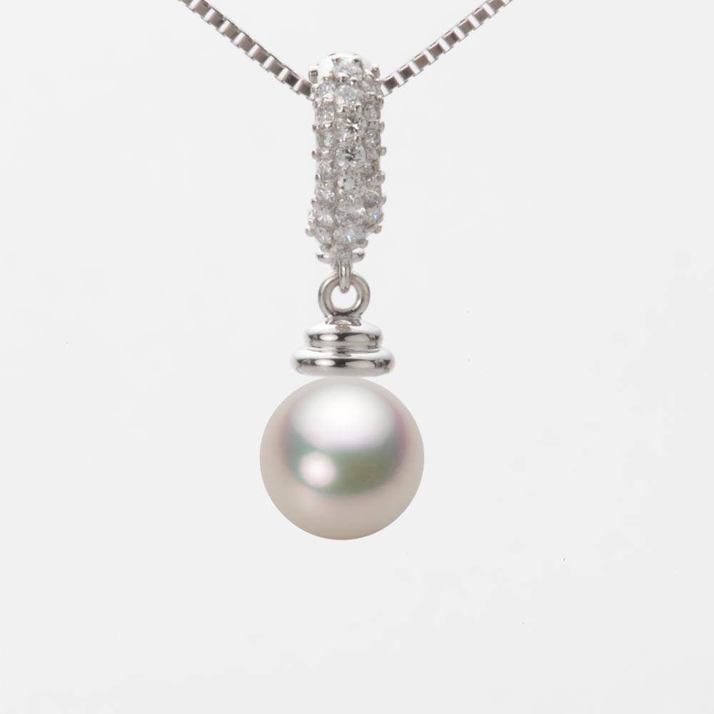 あこや真珠 パール ネックレス 7.5mm アコヤ 真珠 ペンダント K18WG ホワイトゴールド レディース HA00075R12CW0115W0