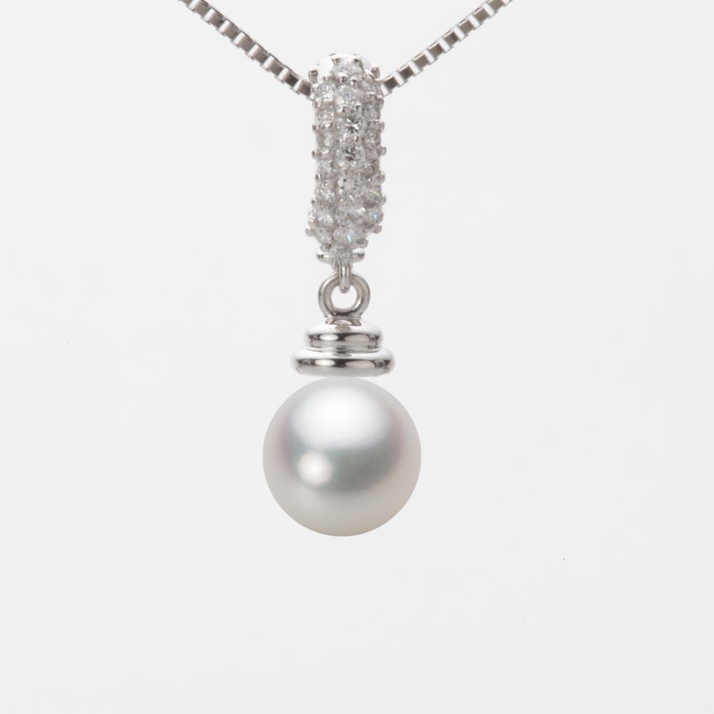 あこや真珠 パール ネックレス 7.5mm アコヤ 真珠 ペンダント K18WG ホワイトゴールド レディース HA00075R12NW0115W0