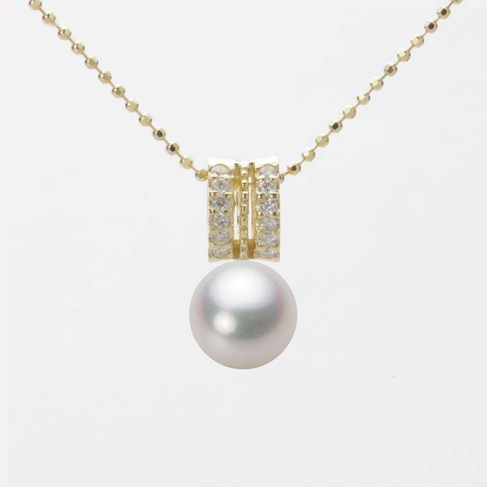 あこや真珠 パール ネックレス 7.5mm アコヤ 真珠 ペンダント K18 イエローゴールド レディース HA00075R12NW01278Y