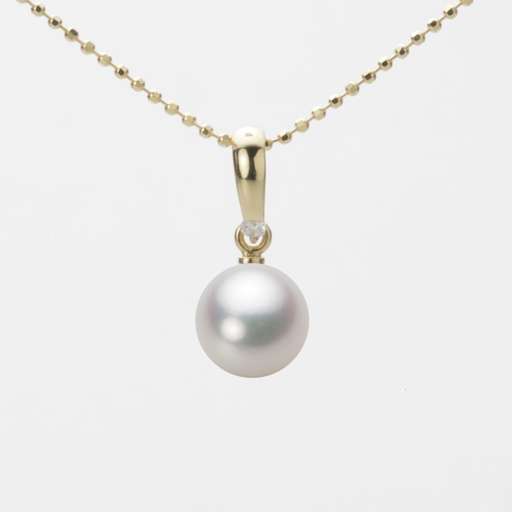 あこや真珠 パール ネックレス 7.5mm アコヤ 真珠 ペンダント K18 イエローゴールド レディース HA00075R12NW01500Y