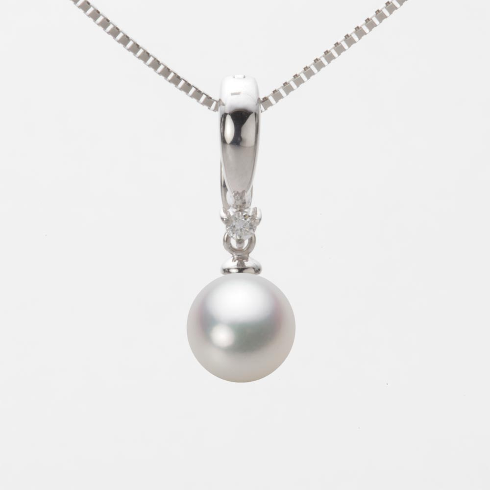 あこや真珠 パール ネックレス 7.5mm アコヤ 真珠 ペンダント K18WG ホワイトゴールド レディース HA00075R12NW0334W0