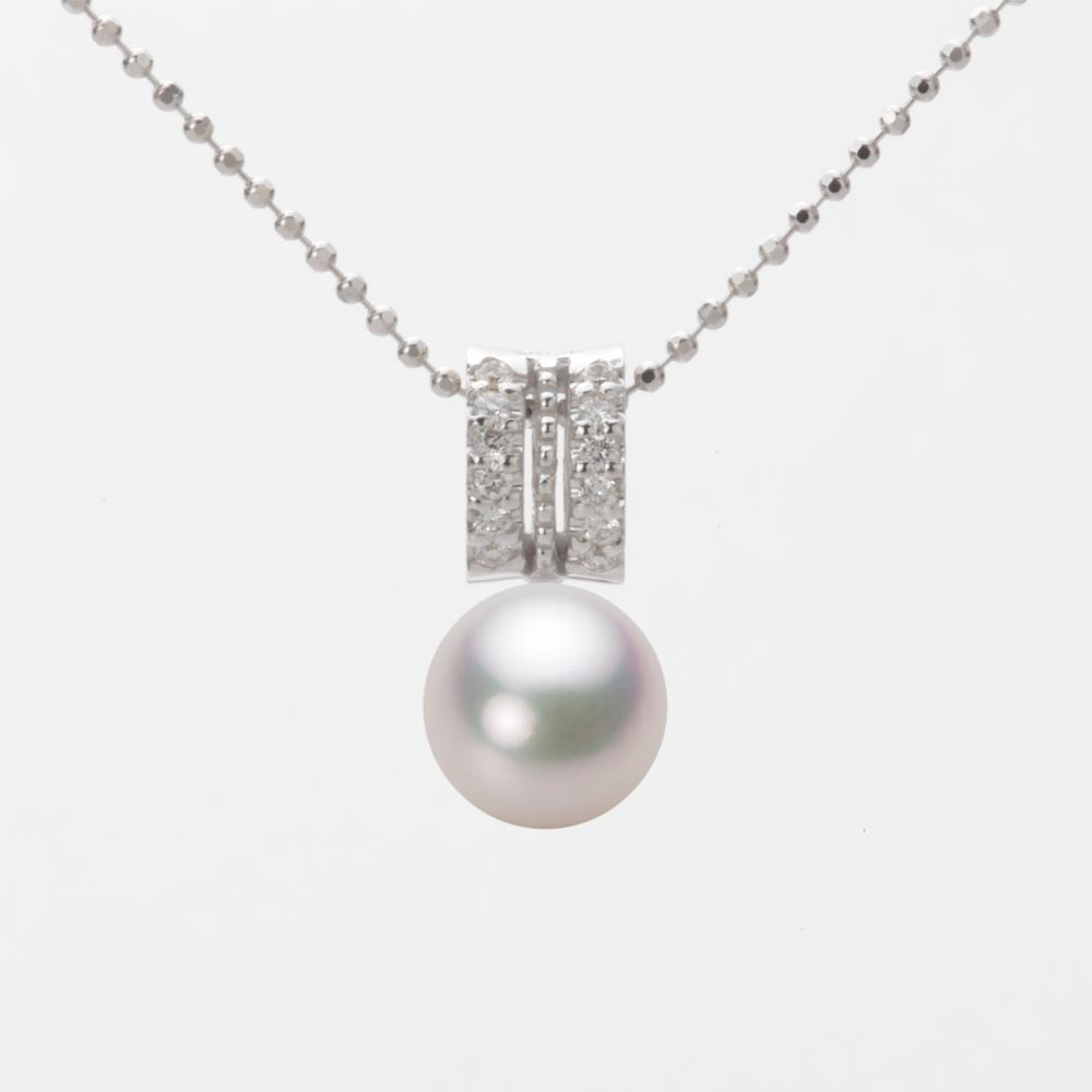 あこや真珠 パール ネックレス 7.5mm アコヤ 真珠 ペンダント K18WG ホワイトゴールド レディース HA00075R12WPG1278W