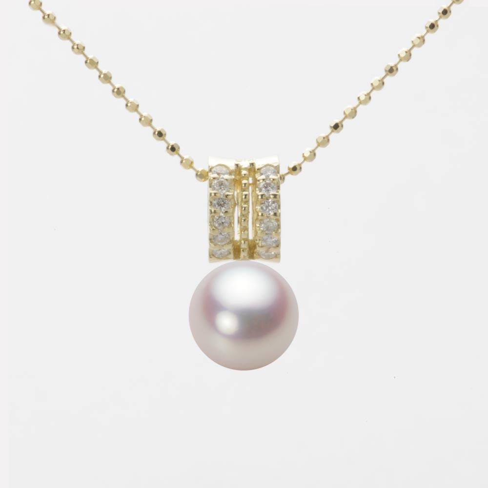 あこや真珠 パール ネックレス 7.5mm アコヤ 真珠 ペンダント K18 イエローゴールド レディース HA00075R12WPN1278Y