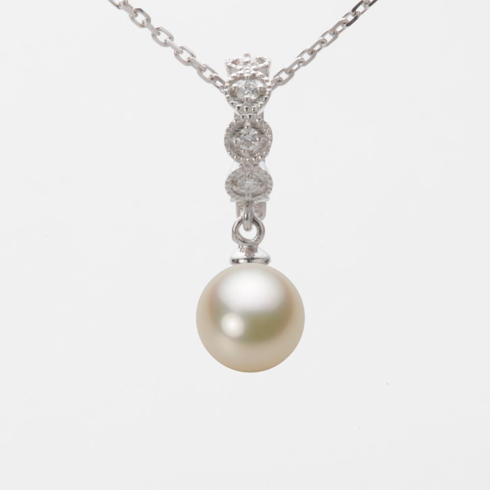 あこや真珠 パール ネックレス 7.5mm アコヤ 真珠 ペンダント K18WG ホワイトゴールド レディース HA00075R13CG0290W0