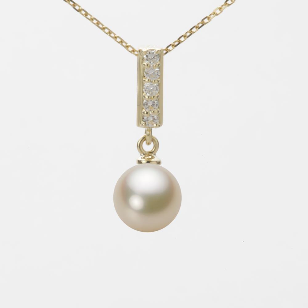 送料無料 K18 WG 値引き あこや 真珠 パール ペンダント トップ あこや真珠 7.5mm 本真珠 アコヤ 贈答品 ムーンレーベル イエローゴールド HA00075R13CG0314Y0-T レディース