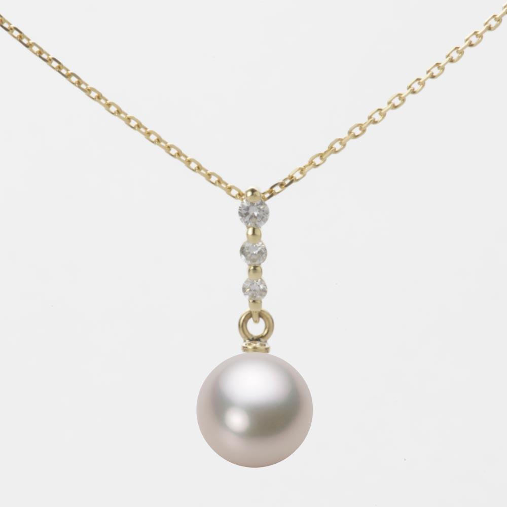 あこや真珠 パール ネックレス 7.5mm アコヤ 真珠 ペンダント K18 イエローゴールド レディース HA00075R13CW0797Y0