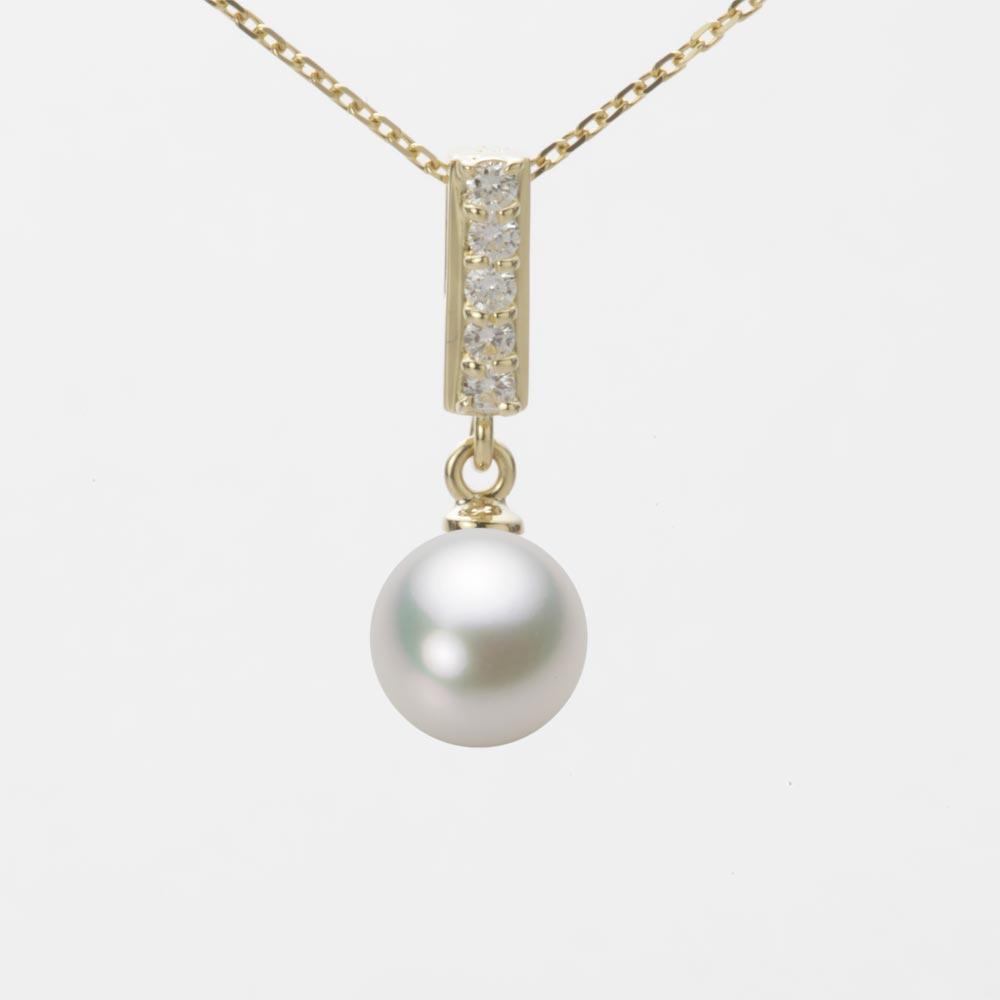 あこや真珠 パール ネックレス 7.5mm アコヤ 真珠 ペンダント K18 イエローゴールド レディース HA00075R13NW0314Y0