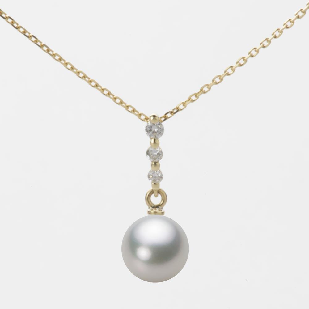あこや真珠 パール ネックレス 7.5mm アコヤ 真珠 ペンダント K18 イエローゴールド レディース HA00075R13SG0797Y0