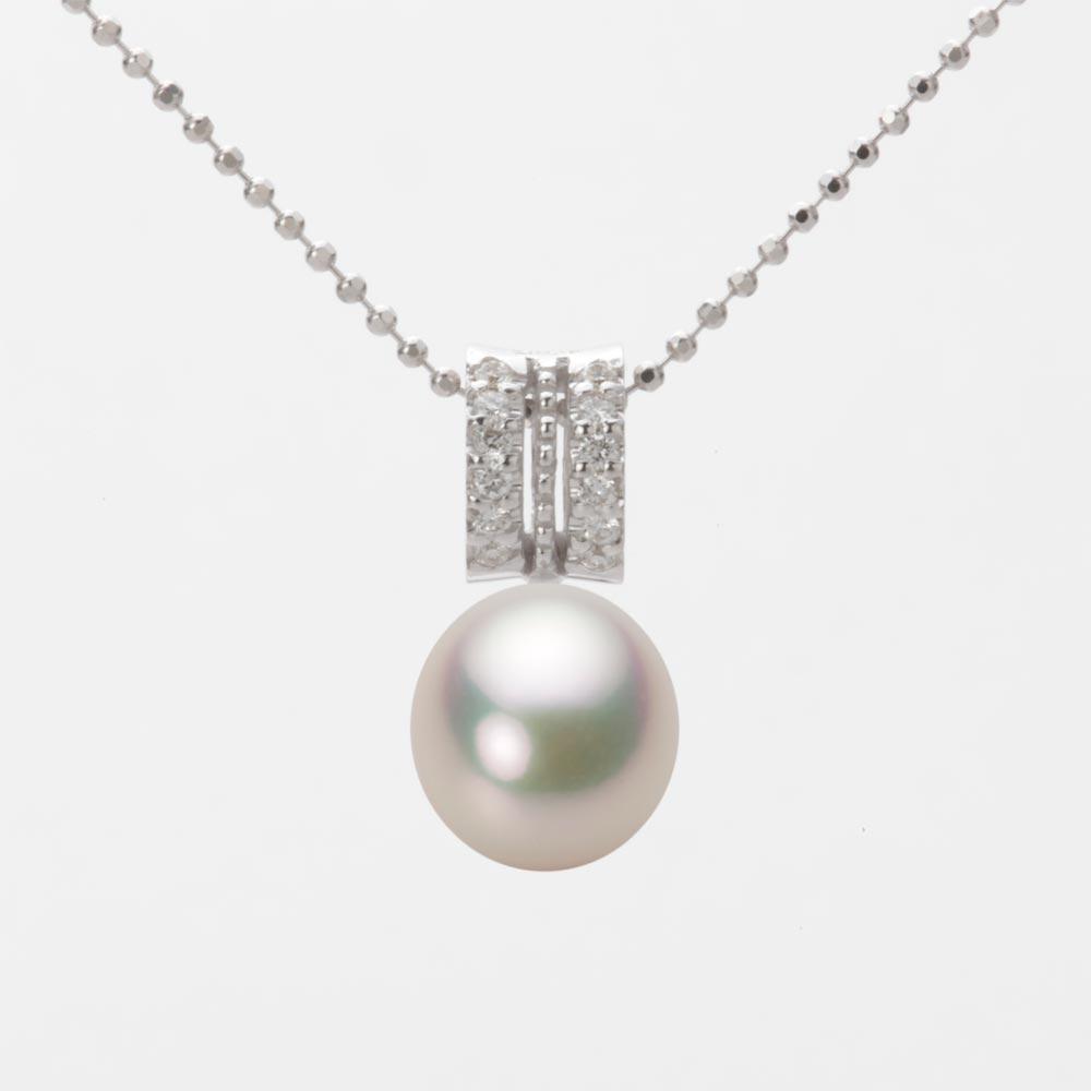 あこや真珠 パール ネックレス 8.0mm アコヤ 真珠 ペンダント K18WG ホワイトゴールド レディース HA00080D11CW01278W