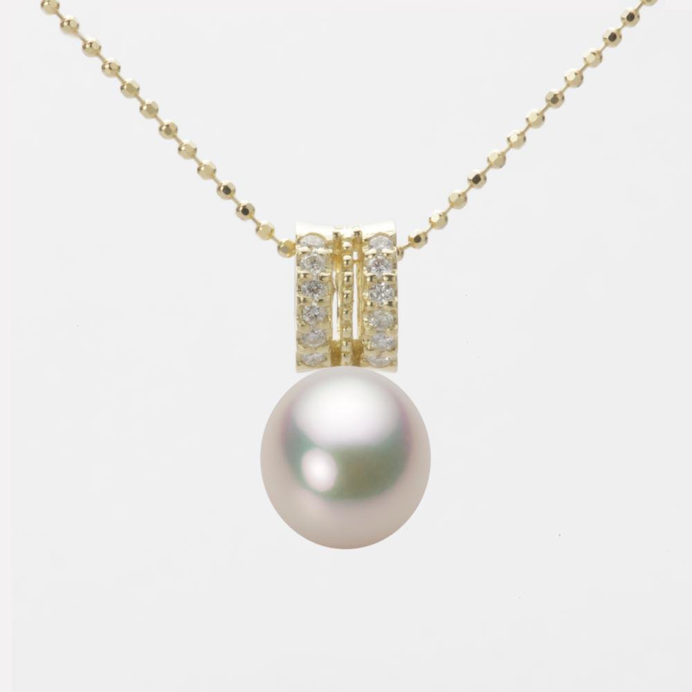 あこや真珠 パール ネックレス 8.0mm アコヤ 真珠 ペンダント K18 イエローゴールド レディース HA00080D11CW01278Y