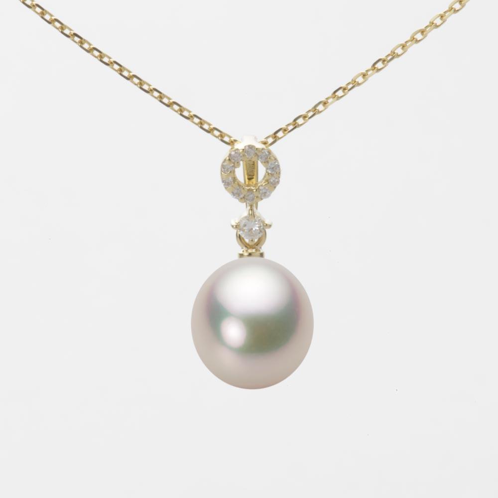 あこや真珠 パール ネックレス 8.0mm アコヤ 真珠 ペンダント K18 イエローゴールド レディース HA00080D11CW01474Y
