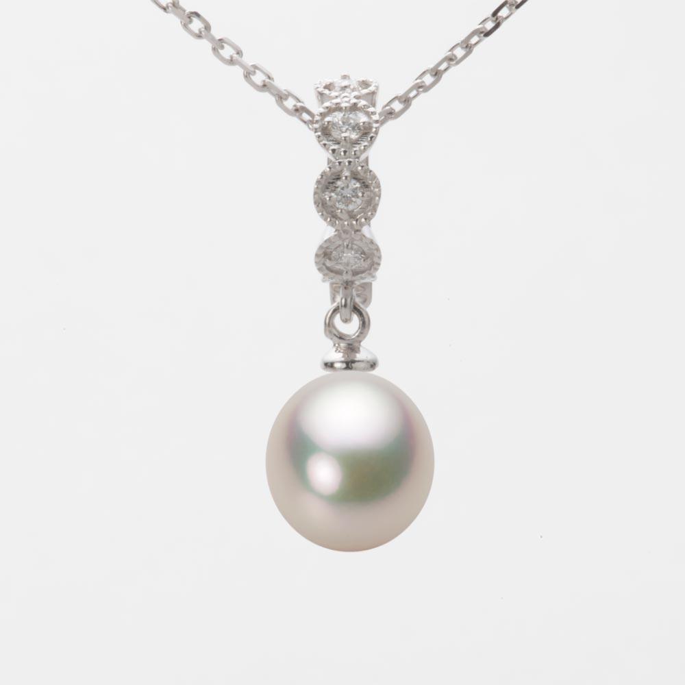 あこや真珠 パール ネックレス 8.0mm アコヤ 真珠 ペンダント K18WG ホワイトゴールド レディース HA00080D11CW0290W0