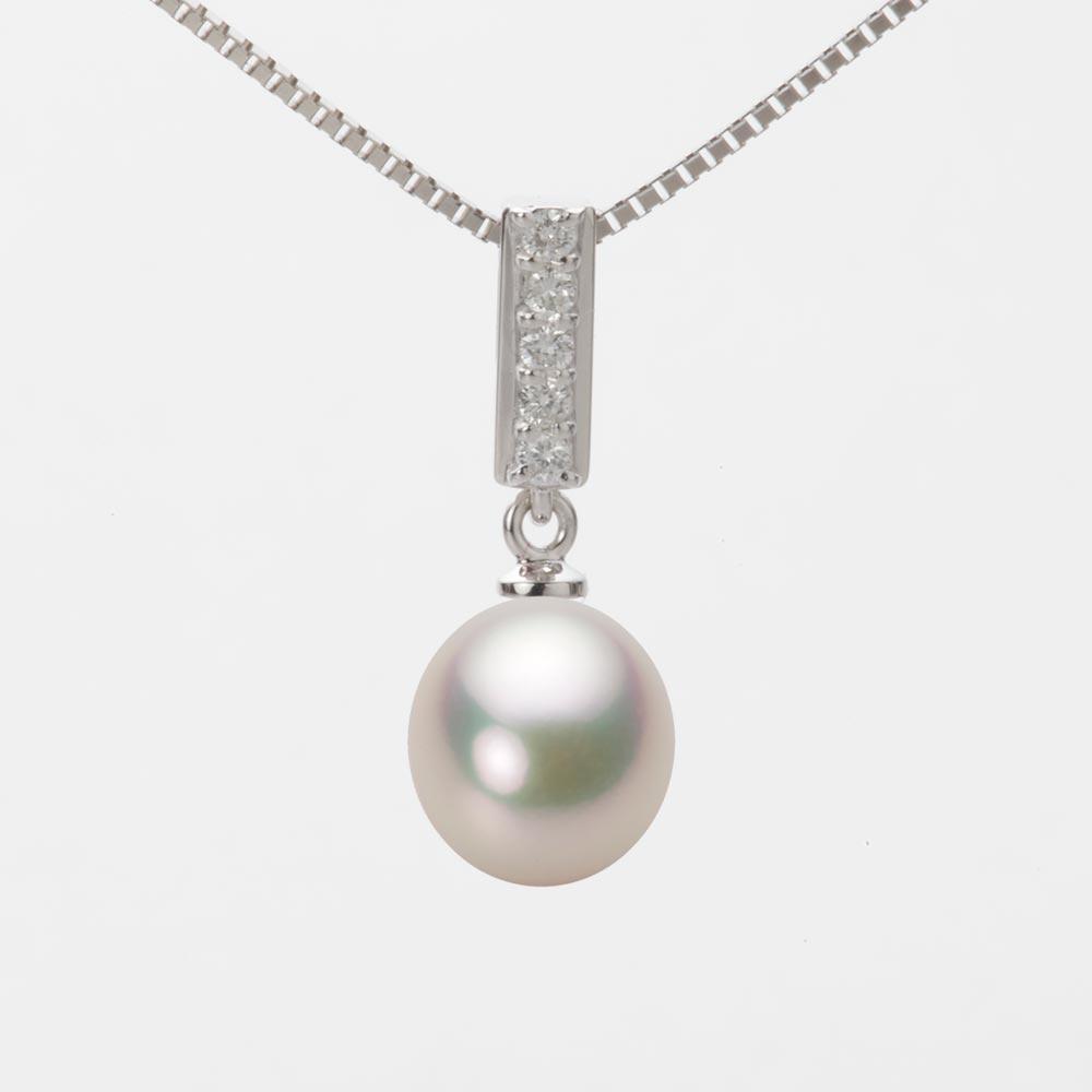 あこや真珠 パール ネックレス 8.0mm アコヤ 真珠 ペンダント K18WG ホワイトゴールド レディース HA00080D11CW0314W0