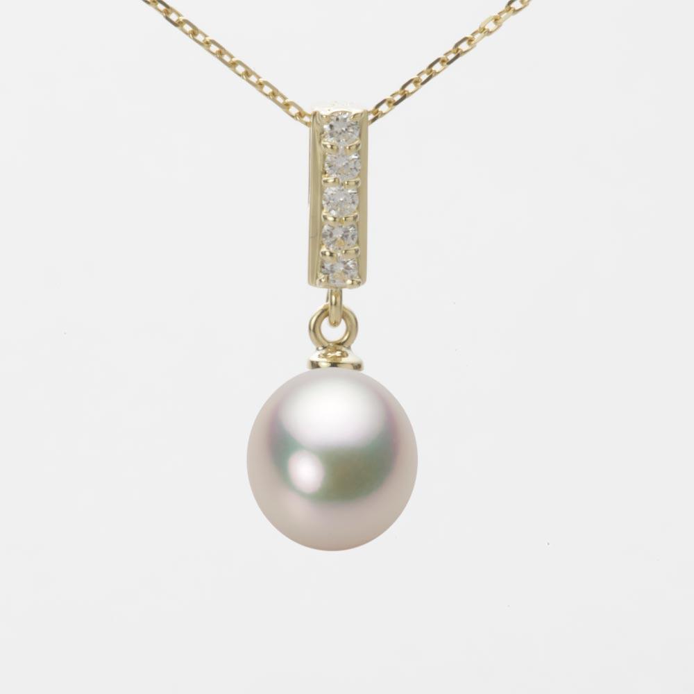 あこや真珠 パール ネックレス 8.0mm アコヤ 真珠 ペンダント K18 イエローゴールド レディース HA00080D11CW0314Y0