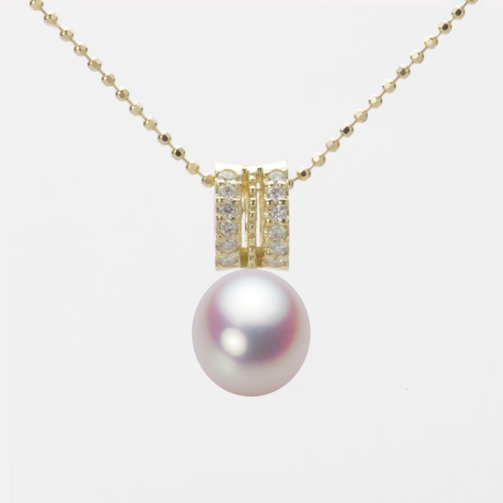 あこや真珠 パール ネックレス 8.0mm アコヤ 真珠 ペンダント K18 イエローゴールド レディース HA00080D11WPN1278Y
