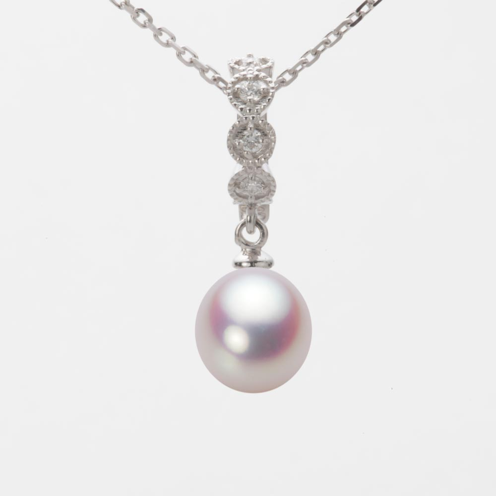 あこや真珠 パール ネックレス 8.0mm アコヤ 真珠 ペンダント K18WG ホワイトゴールド レディース HA00080D11WPN290W0