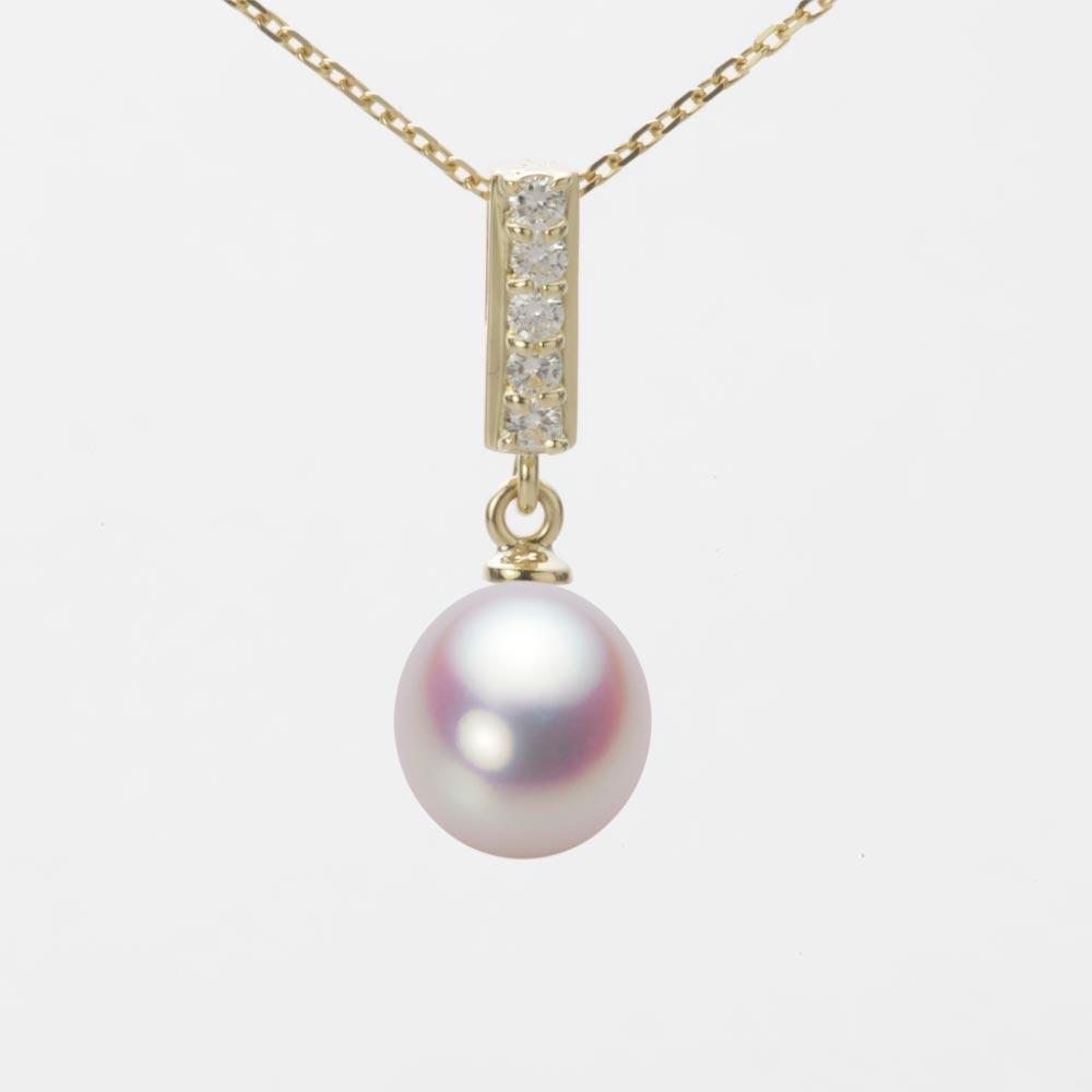 あこや真珠 パール ネックレス 8.0mm アコヤ 真珠 ペンダント K18 イエローゴールド レディース HA00080D11WPN314Y0