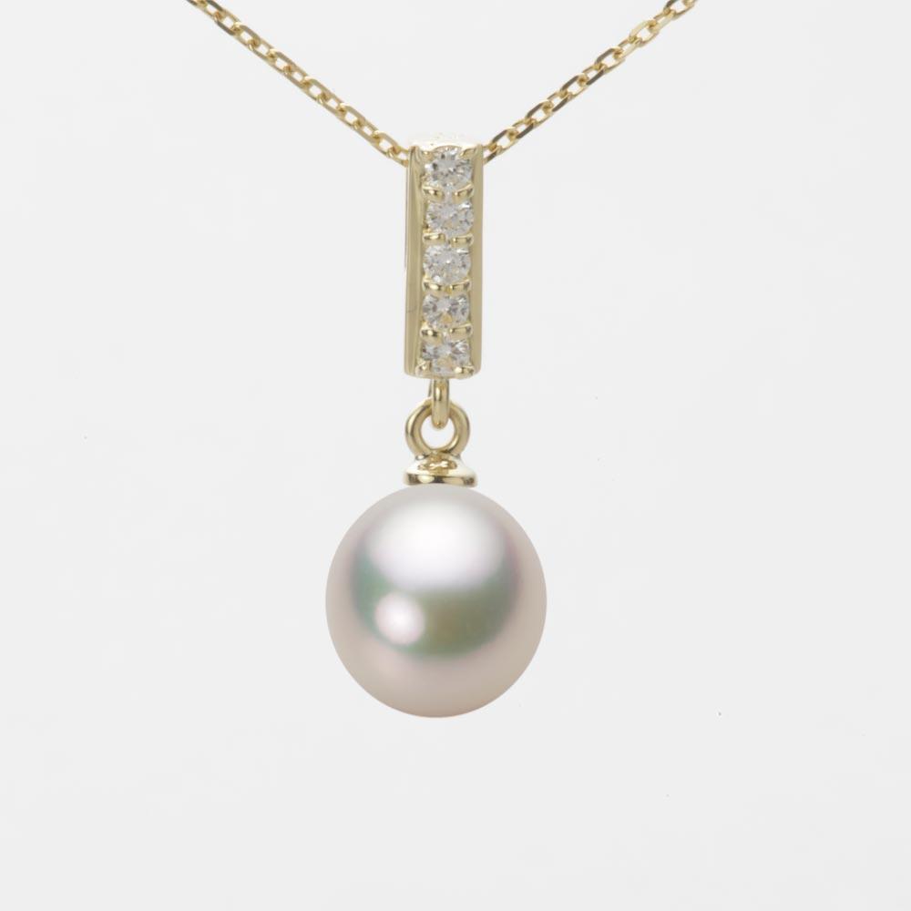 あこや真珠 パール ネックレス 8.0mm アコヤ 真珠 ペンダント K18 イエローゴールド レディース HA00080D12CW0314Y0