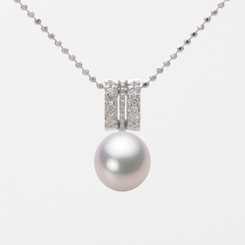 あこや真珠 パール ネックレス 8.0mm アコヤ 真珠 ペンダント K18WG ホワイトゴールド レディース HA00080D12WPG1278W