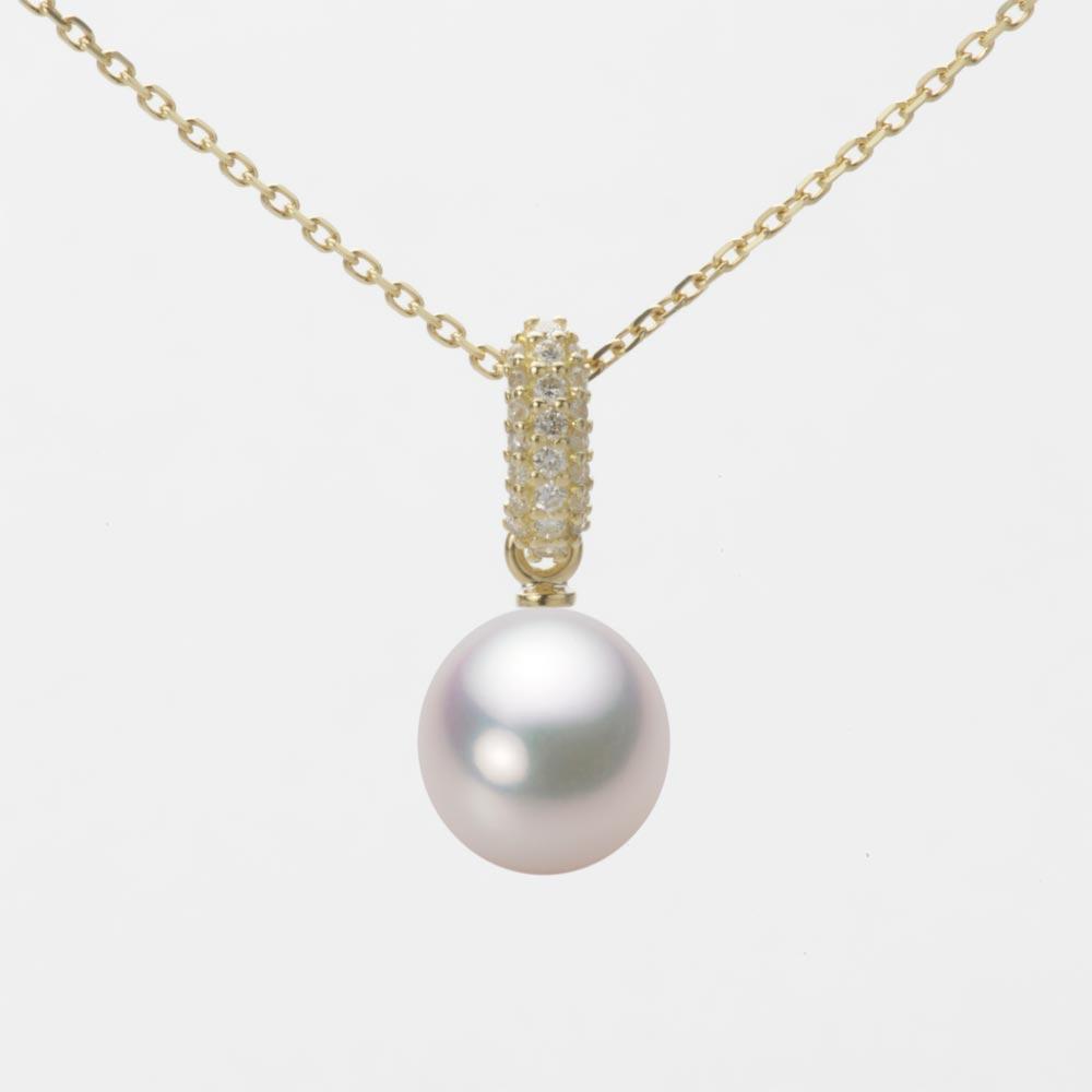 あこや真珠 パール ネックレス 8.0mm アコヤ 真珠 ペンダント K18 イエローゴールド レディース HA00080D12WPG1489Y