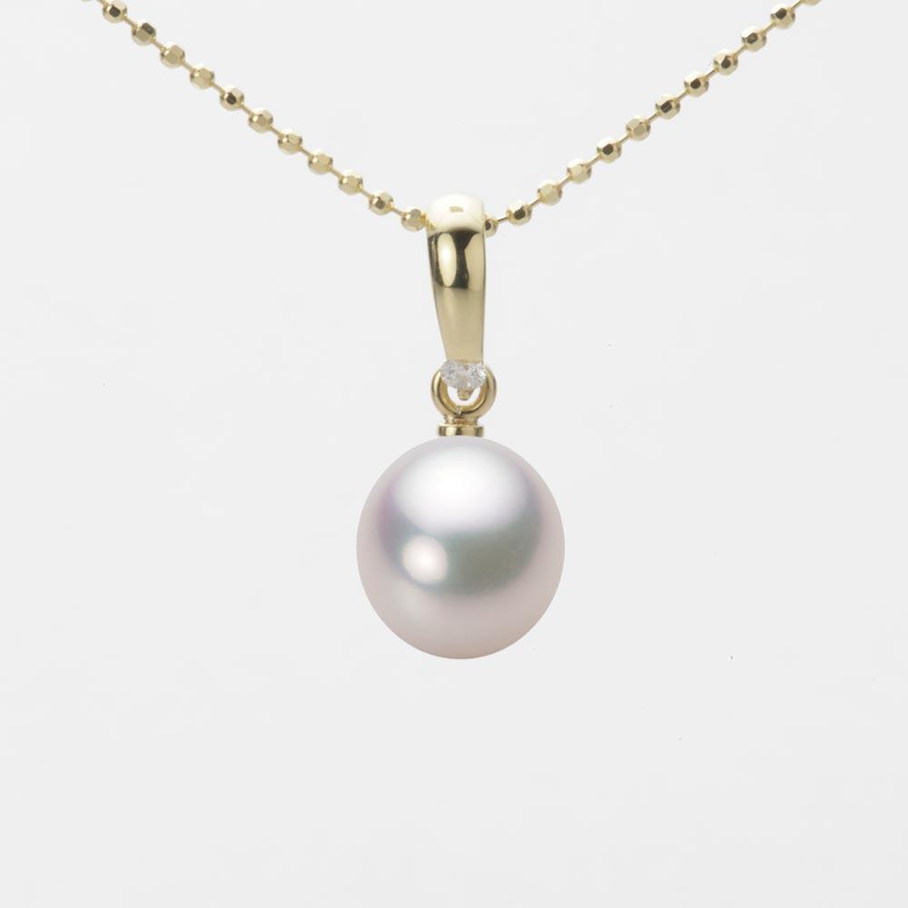 あこや真珠 パール ネックレス 8.0mm アコヤ 真珠 ペンダント K18 イエローゴールド レディース HA00080D12WPG1500Y