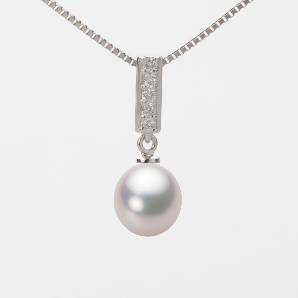 あこや真珠 パール ネックレス 8.0mm アコヤ 真珠 ペンダント K18WG ホワイトゴールド レディース HA00080D12WPG314W0