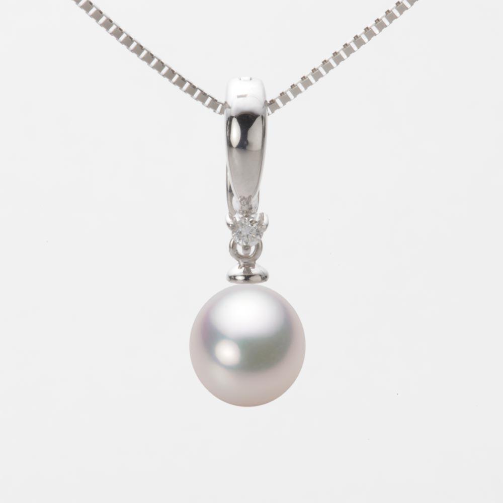 あこや真珠 パール ネックレス 8.0mm アコヤ 真珠 ペンダント K18WG ホワイトゴールド レディース HA00080D12WPG334W0