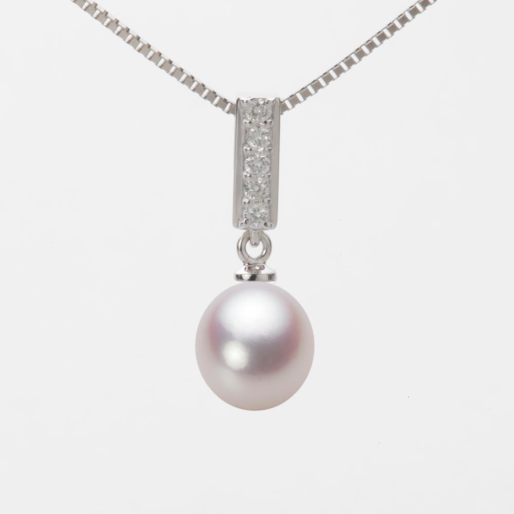 あこや真珠 パール ネックレス 8.0mm アコヤ 真珠 ペンダント K18WG ホワイトゴールド レディース HA00080D12WPN314W0