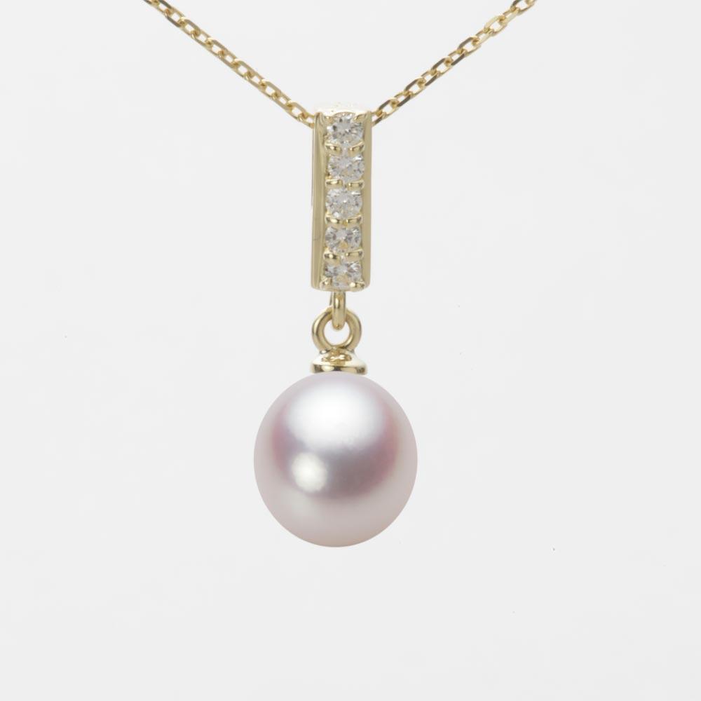 あこや真珠 パール ネックレス 8.0mm アコヤ 真珠 ペンダント K18 イエローゴールド レディース HA00080D12WPN314Y0