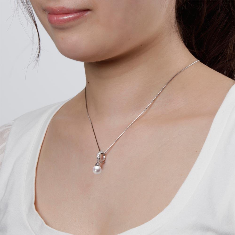 あこや真珠 パール ネックレス 8 0mm アコヤ 真珠 ペンダント K18WG ホワイトゴールド レディース HA00080D13WPN115W0EWIYDH29